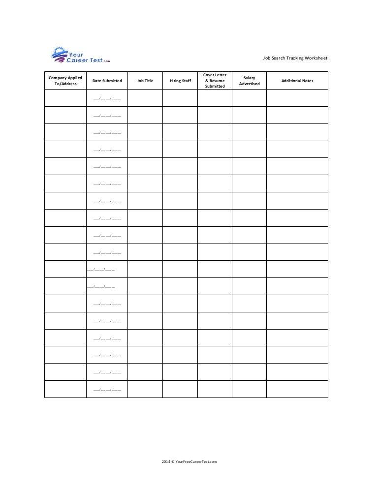 Job Search Tracking Worksheet – Job Search Worksheet