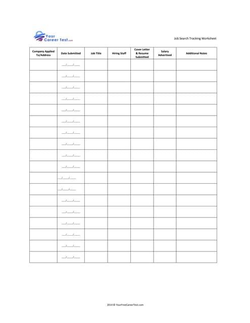 Worksheets Job Search Worksheet job search tracking worksheet