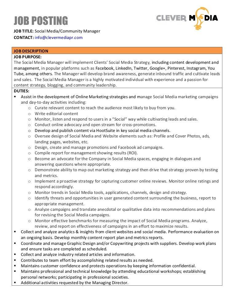 Clever Media Job Posting For Social Media Manager