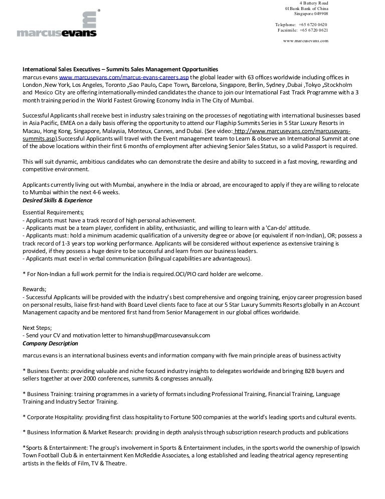International Sales Executives - Summits Sales Management Opportuniti…