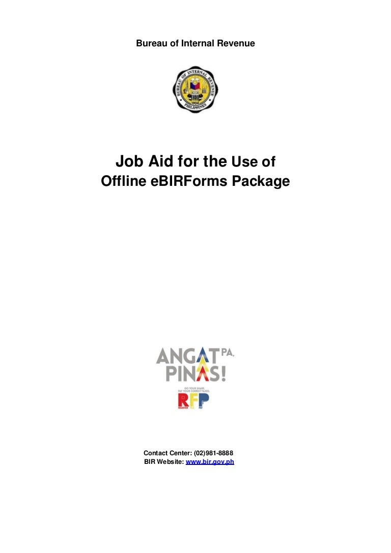 Job aid for the use of offline e bir forms package