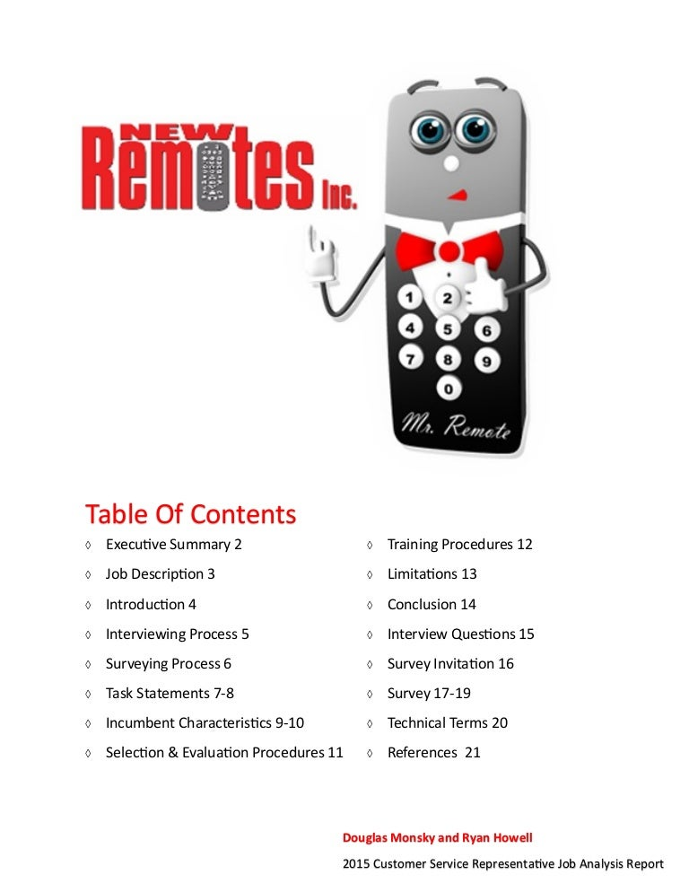 New Remotes Inc. Job Analysis