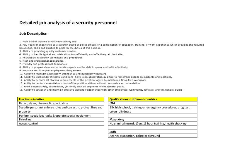 Job Analysis Security Personnel