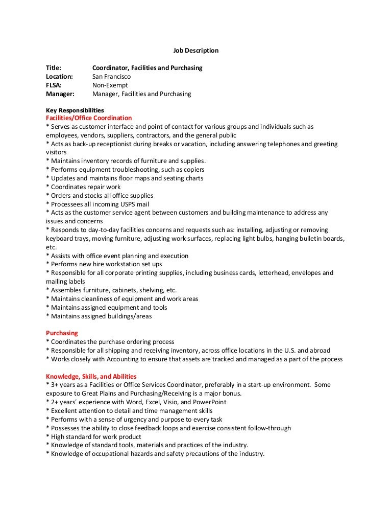 Facilities Coordinator Job Descprition