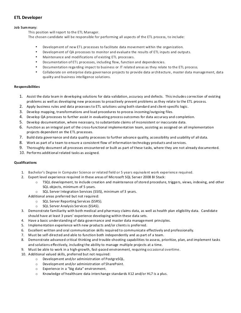 Etl Manager | Resume Cv Cover Letter