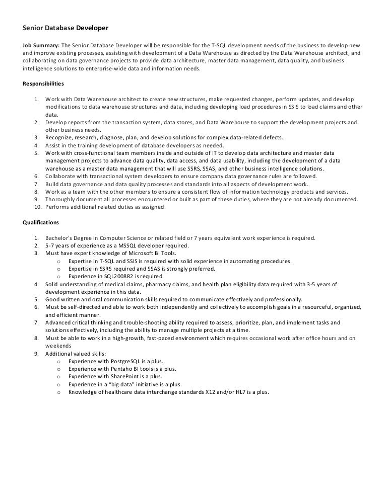 job description database