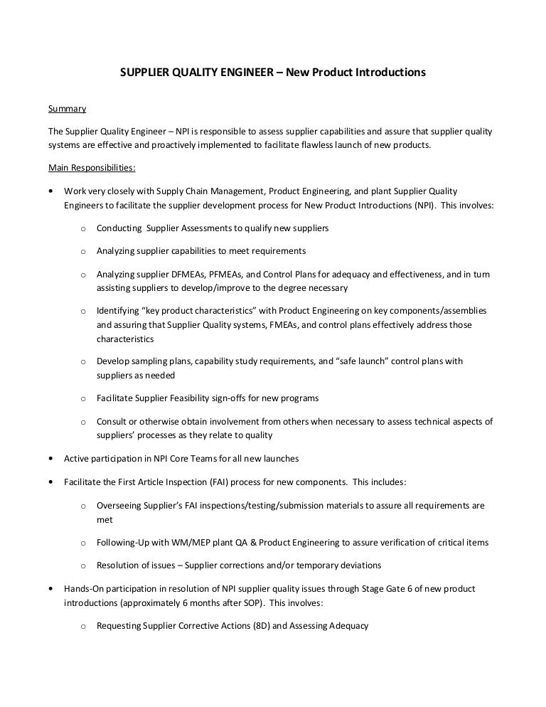 Quality Engineer Job Description Quality Assurance Resume Sample