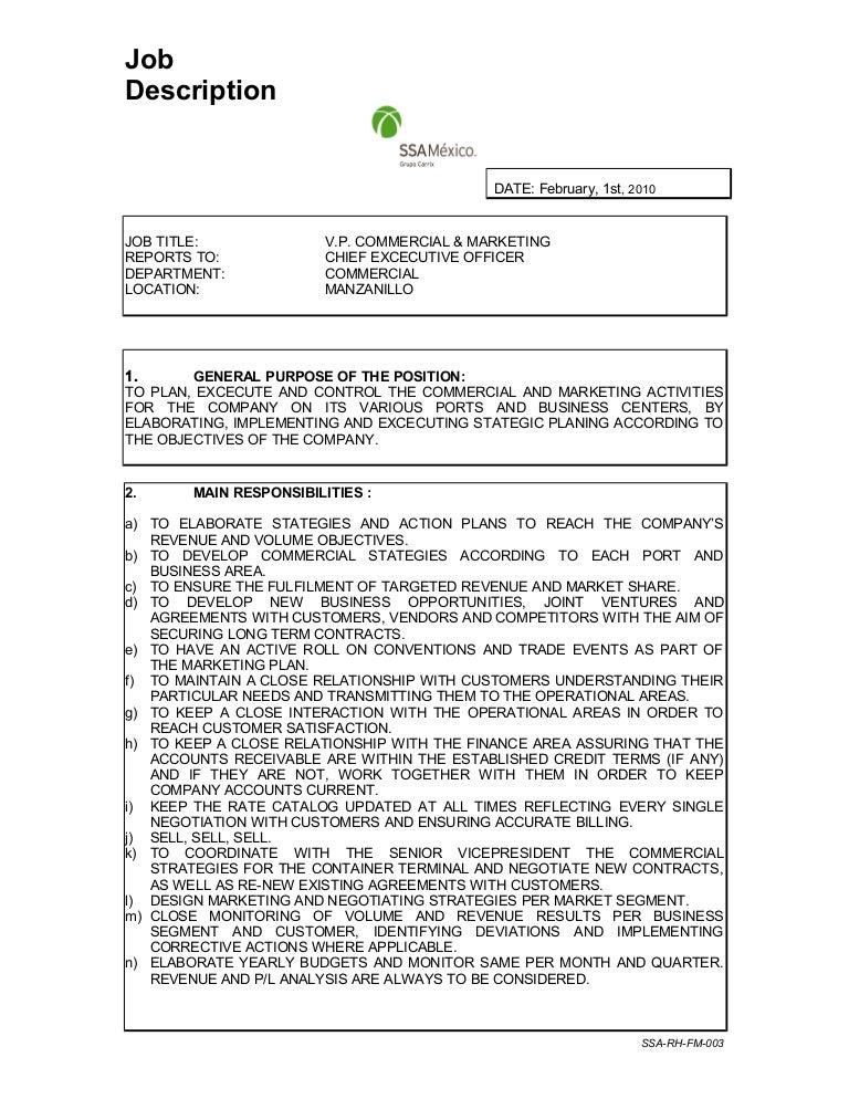 Job description vp marketing – Chief Marketing Officer Job Description