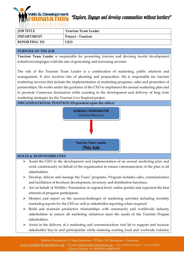 job description webdev foundation tourism project team leader