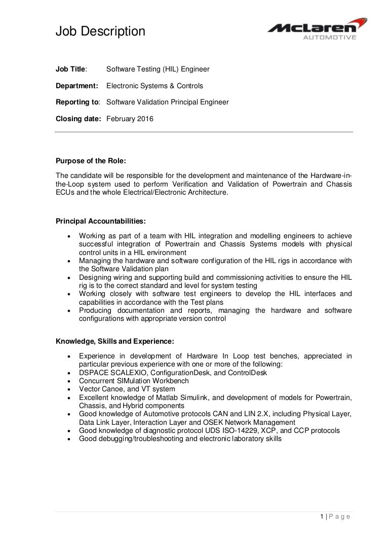 job description 14061 software testing hil engineer - Responsibilities Of A Software Engineer