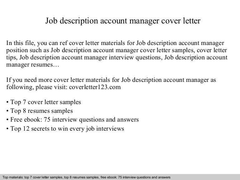 Job Description Account Manager Executive Cover Letter