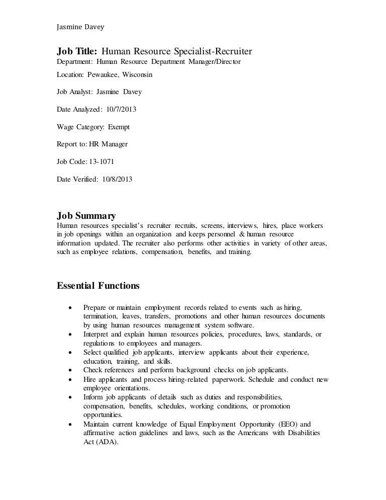 Doc12751650 Hr Director Job Description Hr Manager Job – Recruiter Job Description