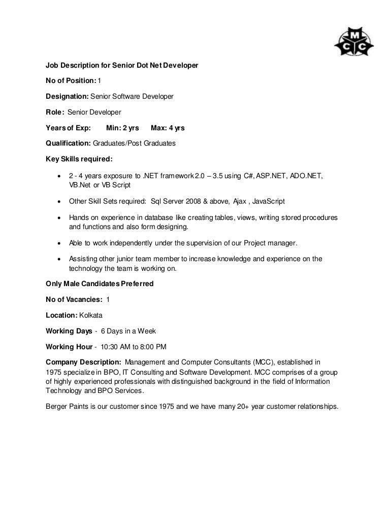 Resume CV Cover Letter. ios developer job description template ...