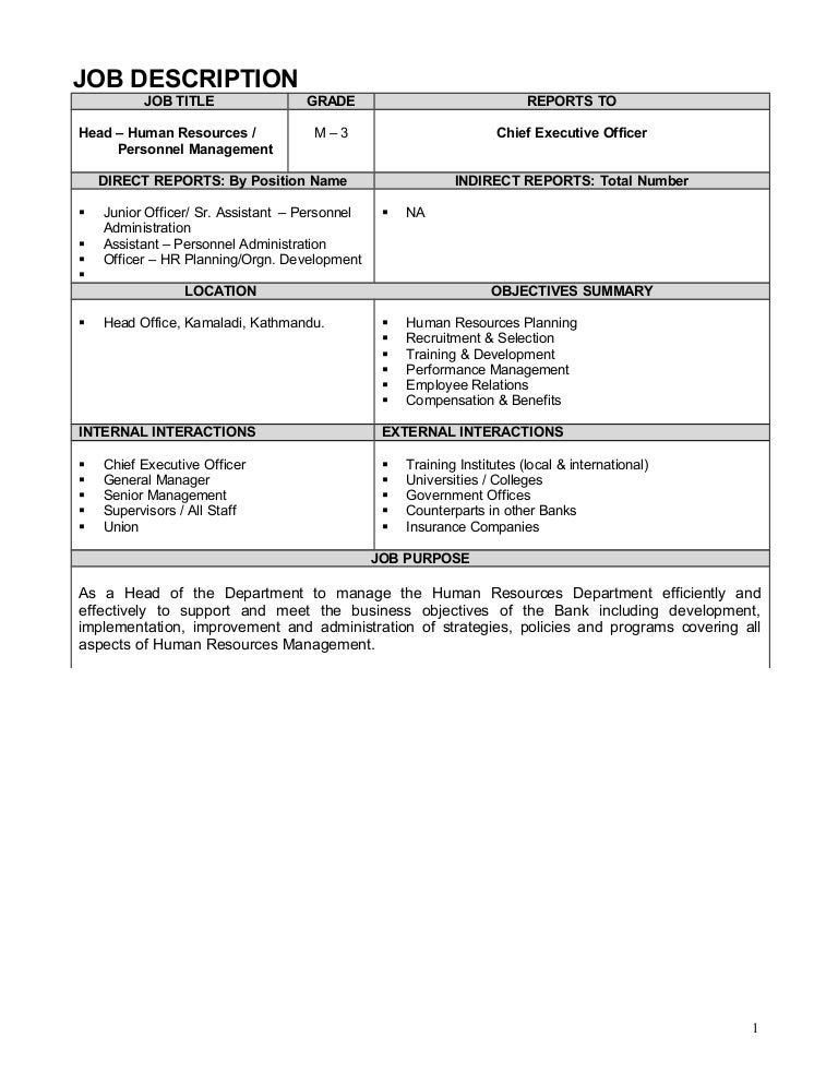 Senior hr executive job responsibilities