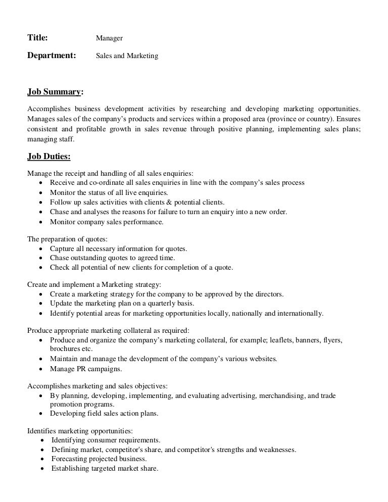 Business Development Job Description. Job Description Of Manager In Sales  And Marketing Department