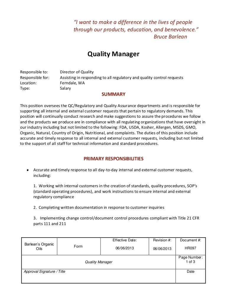 Job Description Quality Manager
