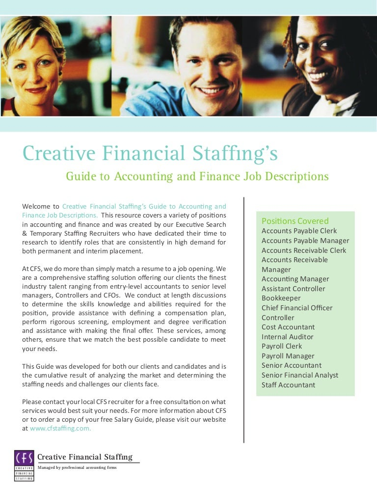 Accounting  Finance Job Descriptions