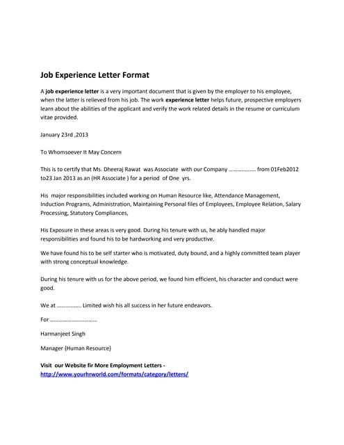 SlideShare  Job Certificate Format