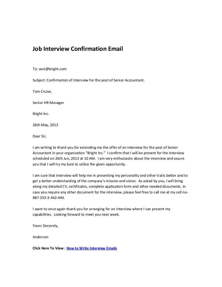 Formal Acceptance Letter Job Interview Confirmation Email School