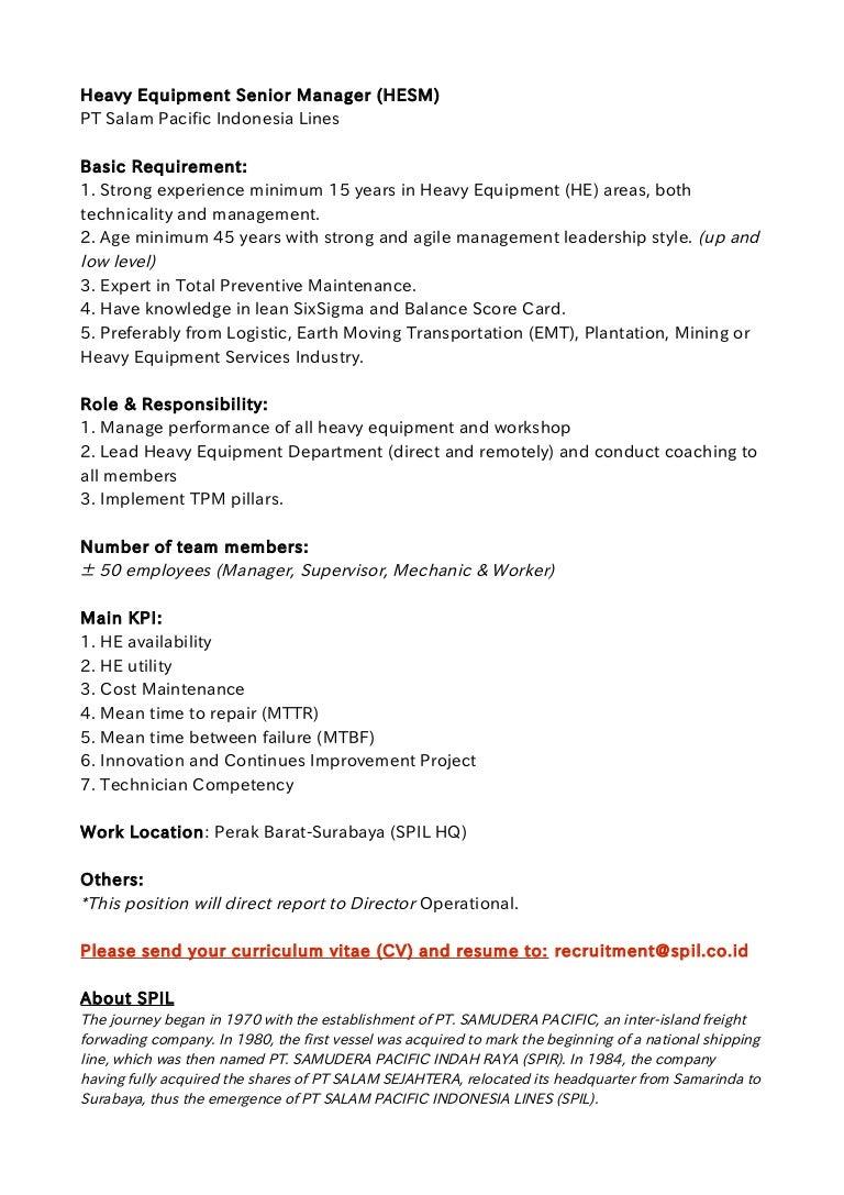 job offer spil senior heavy equipment manager surabaya