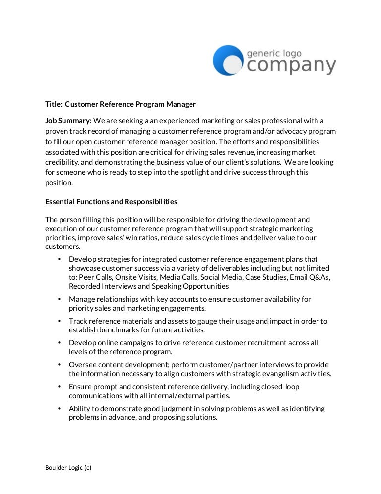 Customer Reference Manager Job posting template – Customer Reference Template