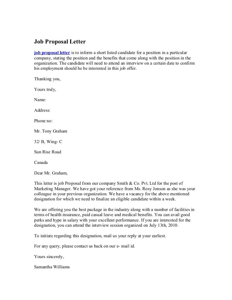 Sample Employment Proposal Letter