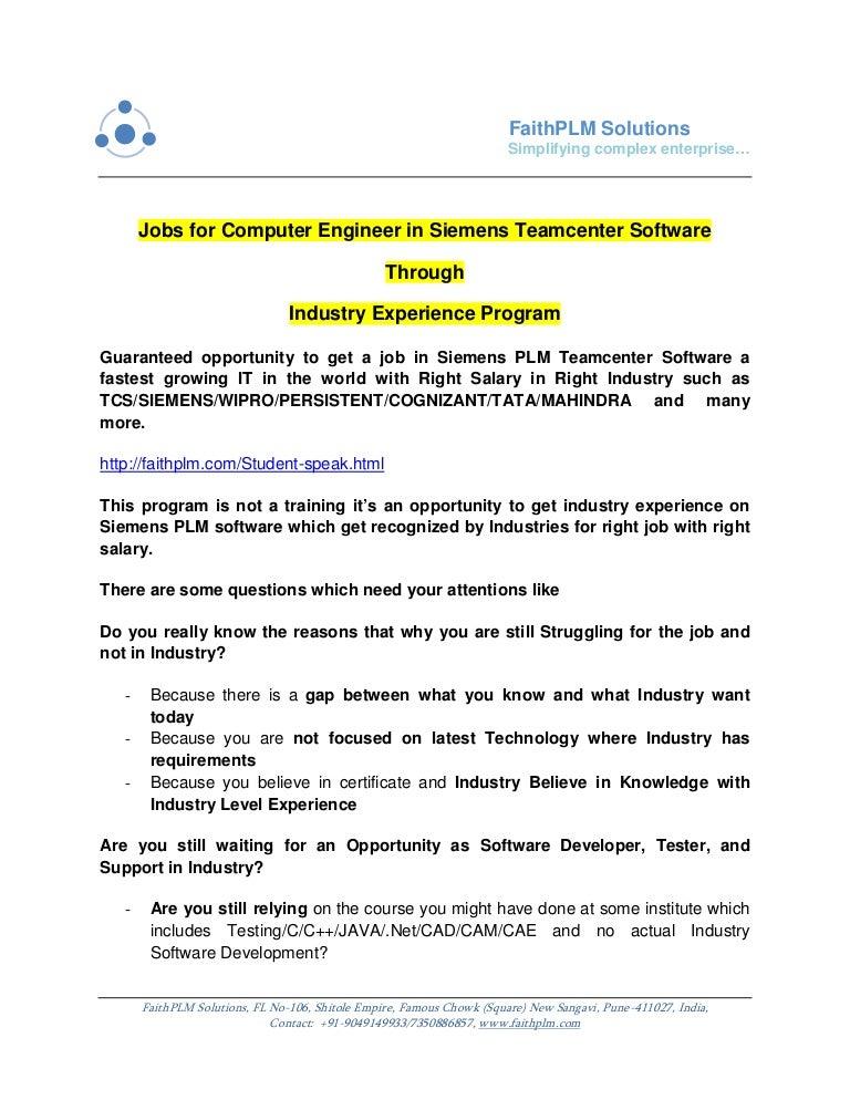 Jobs for computer engineer in siemens teamcenter software