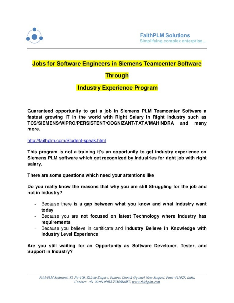 jobsforsoftwareengineersinsiemensteamcentersoftwarethroughindustryexperienceprogram 170225115613 thumbnail 4?cb=1488023970 amazing teamcenter resume contemporary simple resume office wire harness engineer salary at soozxer.org