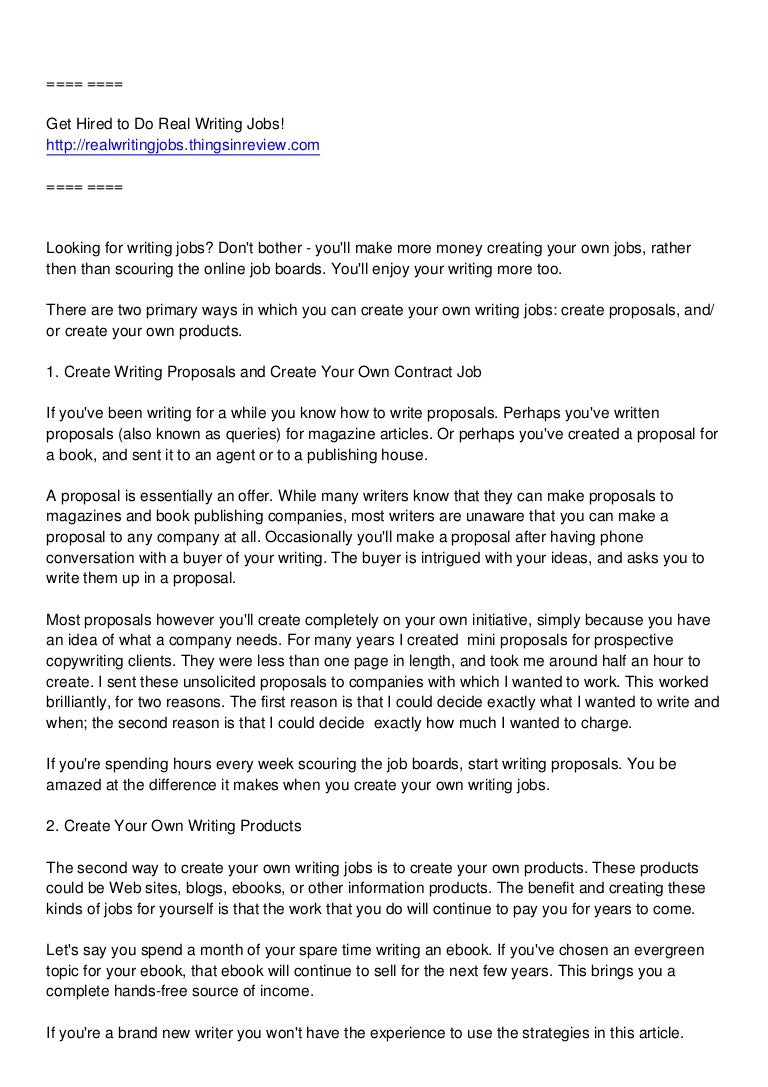 jobs for writers create your own writing jobs