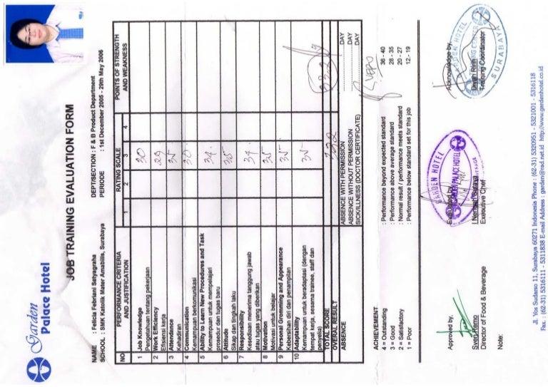 Job Training Evaluation Form