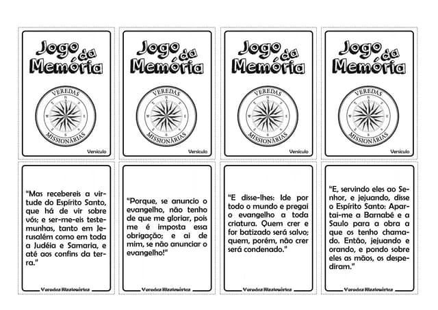Jogo da Memória Versículos Missionários