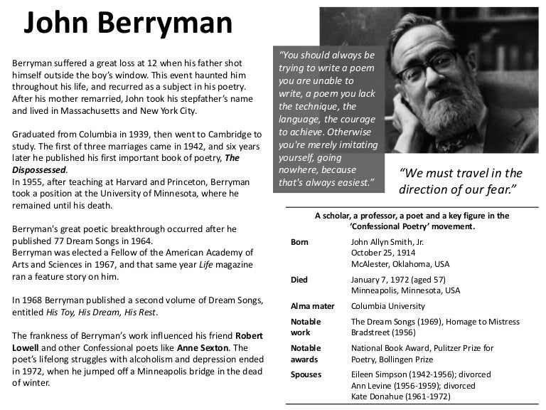recovering berryman essays on a poet Once was lest we forget that a gathering of essays such as we have here is in itself an achievement to be valued not only that, but  that the poet remains in control—even when view, he says, drunk (239, 240) 269  270  recovering berryman and anger he sees the old man with fresh eyes, and, i.