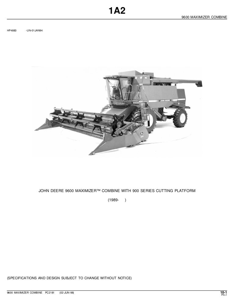 john deere 9600 maximizer combine parts catalog rh slideshare net john deere combine parts manual john deere 3300 combine parts manual