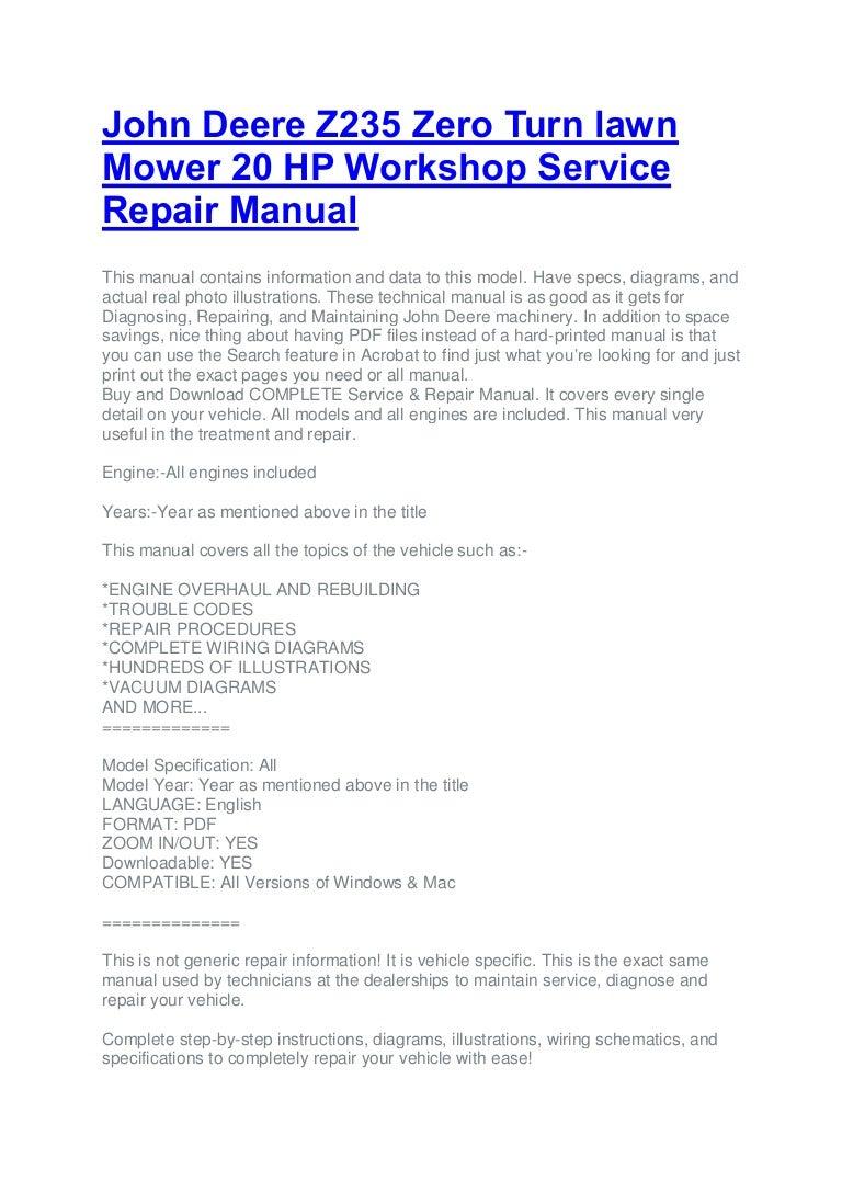 John deere z235 zero turn lawn mower 20 hp workshop service ... on