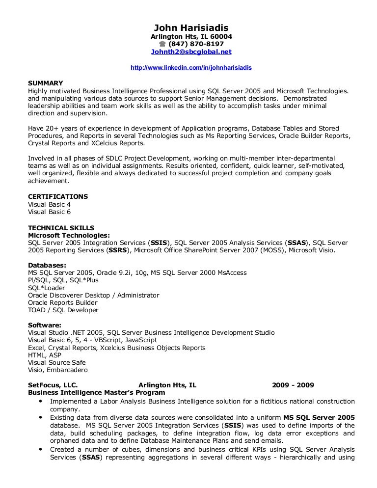 john harisiadis bi resume - Business Object Resume