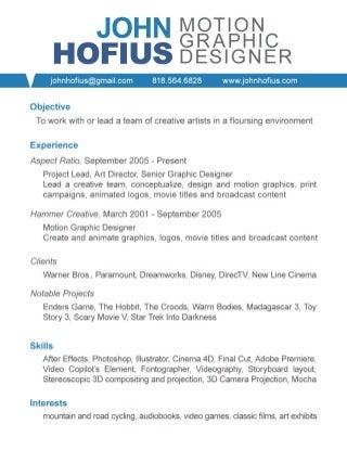Wunderbar Motion Graphics Designer Lebenslauf Galerie ...