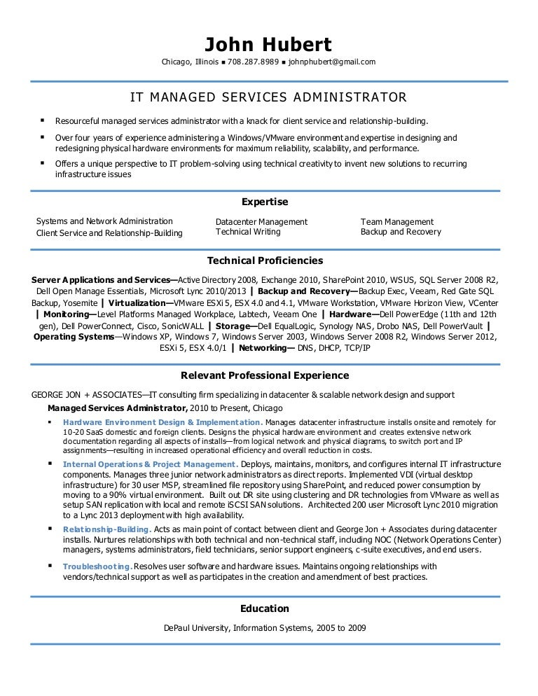 Resume Templates  Infrastructure Specialist