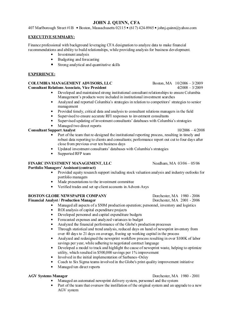 John J. Quinn, Cfa Finance Resume
