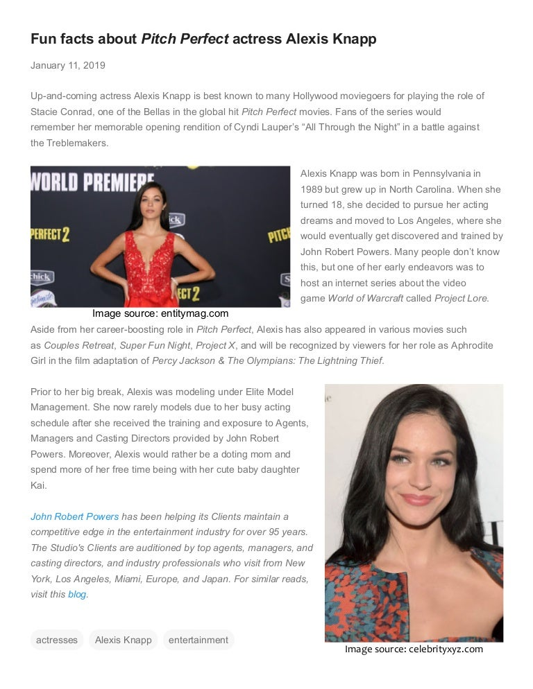 Fun Facts About Pitch Perfect Actress Alexis Knapp