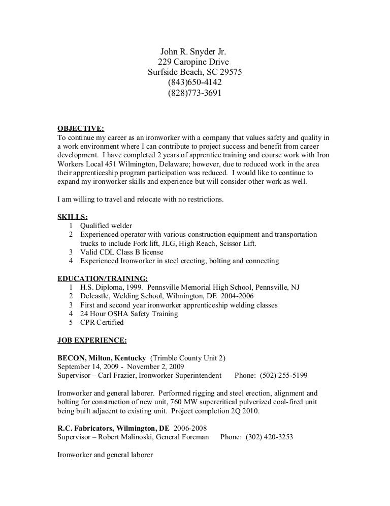 Antichecking Iron Worker Job Title Docs. Steel Worker Cover Letter ...
