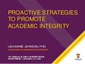 Proactive Strategies for Promoting Academic Integrity