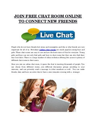 Join free chat room online to connect new friends
