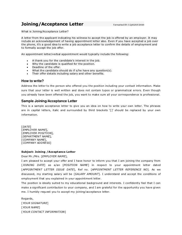 Job Acceptance Sample Professional Letter Formats Pes 25