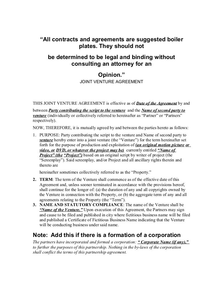 Joint venture agreement 1 – Joint Venture Agreement