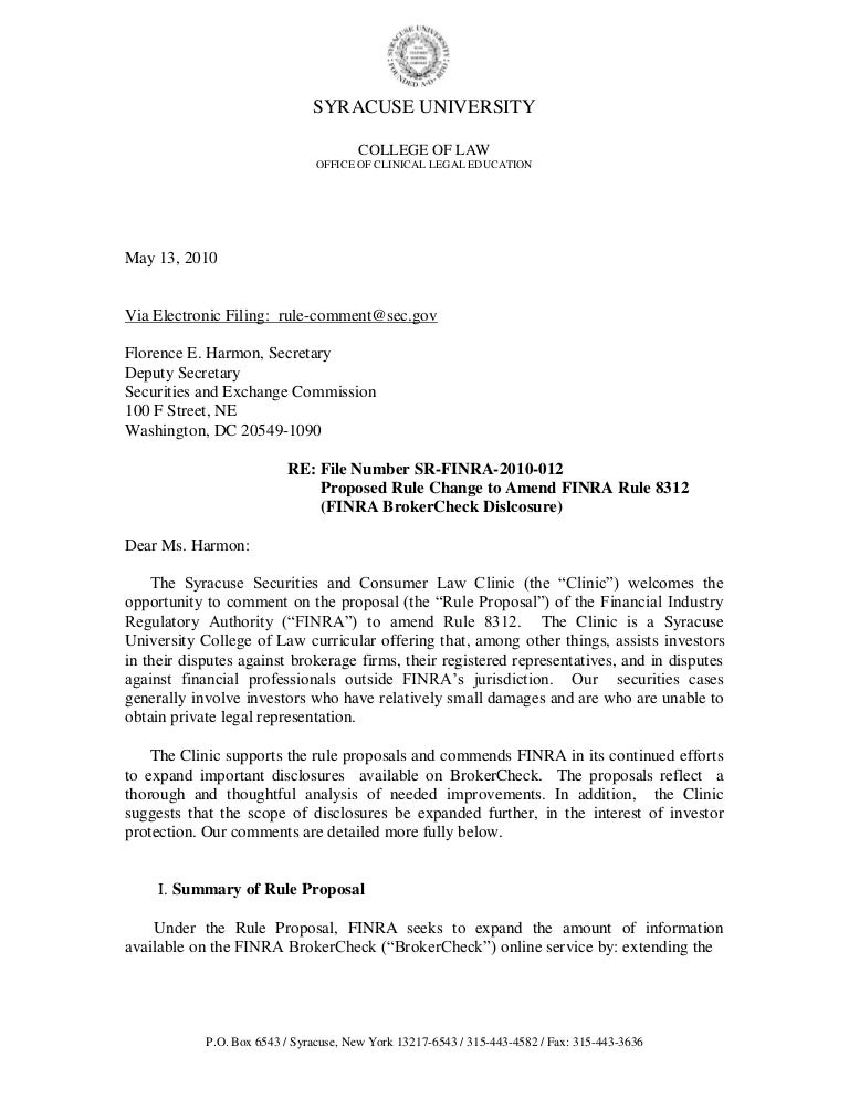 finra 3210 letter template  Jon Terracciano Published Comment Letter, FINRA Rule 12