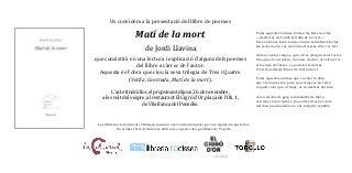 Jordi Llavina presente el seu nou poemari 'matí de la mort' publicat per tres i quatre