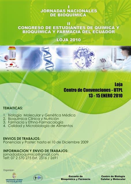 I JORNADAS DE BIOQUIMICA Y FARMACIA