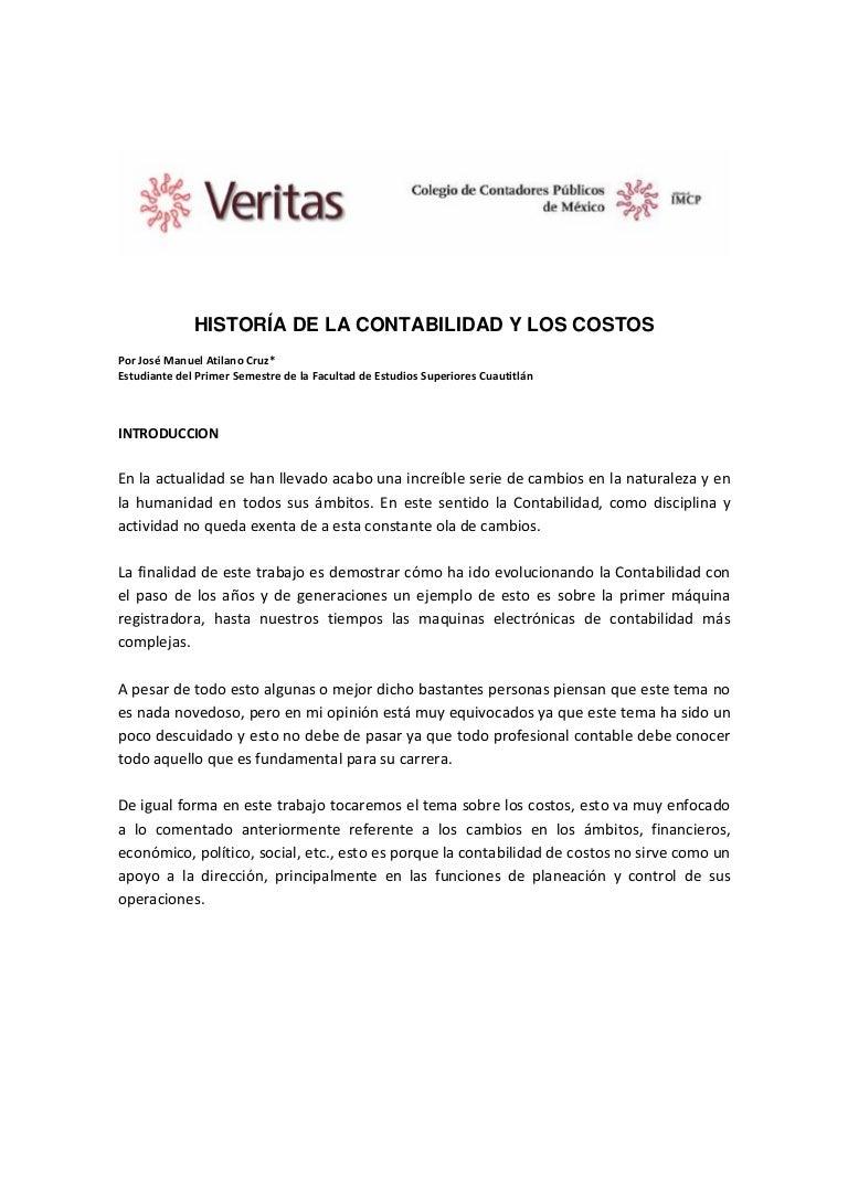 Historia de la contabilidad de Costos - Jose manuel atilano