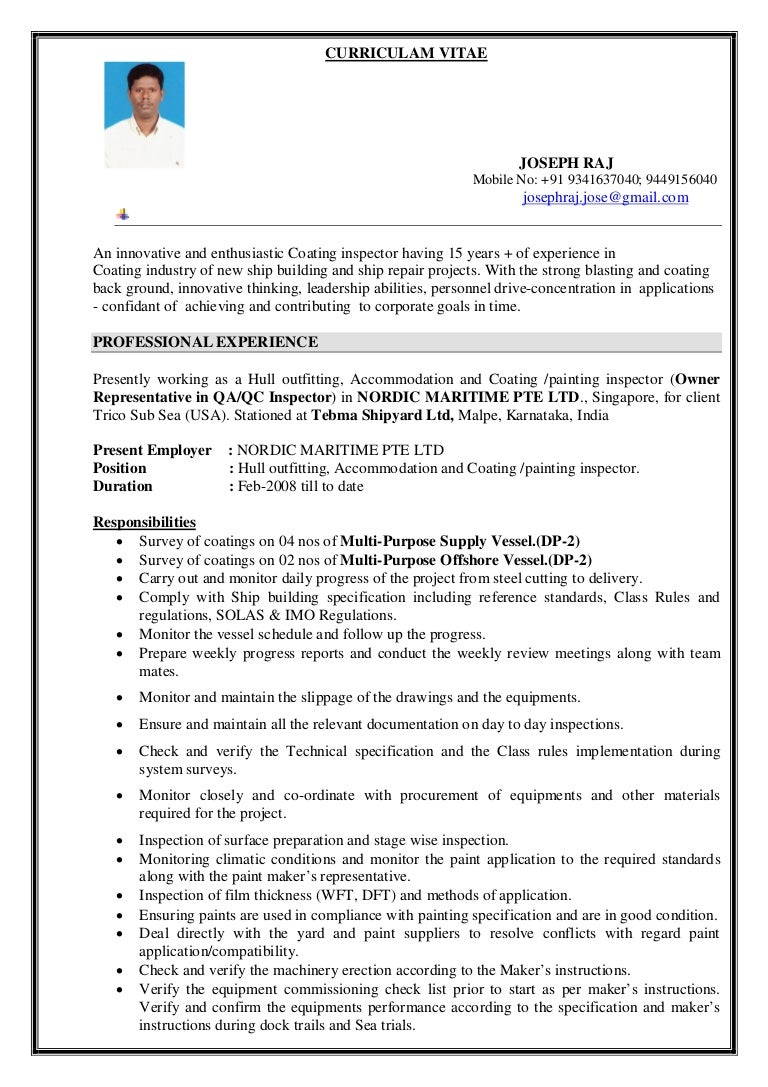 Welding And Coating Inspector Cover Letter And Resume