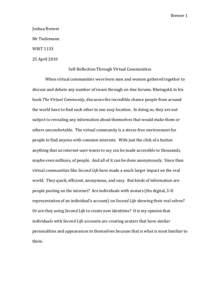 Argumentative Essay High School  Apa Sample Essay Paper also Essays About Health Joshua Brewer Virtual Communities Essay  Final Draft How To Stay Healthy Essay
